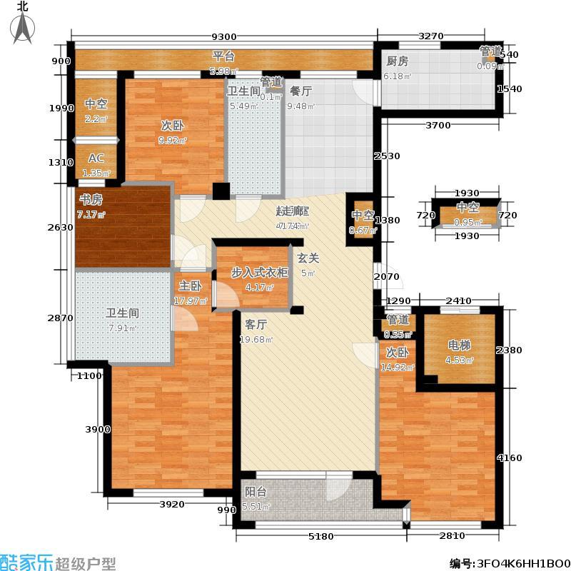 绿城百合花园165.00㎡D7号楼东户 四室两厅两卫户型4室2厅2卫
