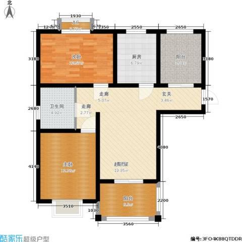 开祥天下城2室0厅1卫1厨87.00㎡户型图