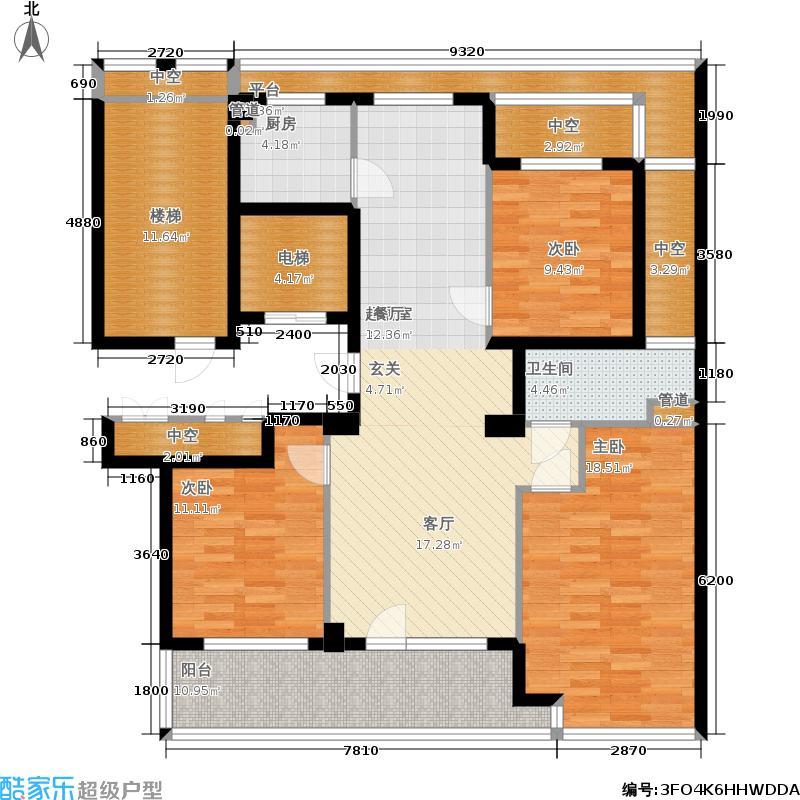绿城百合花园125.00㎡B2户型 三室两厅一卫户型3室2厅1卫
