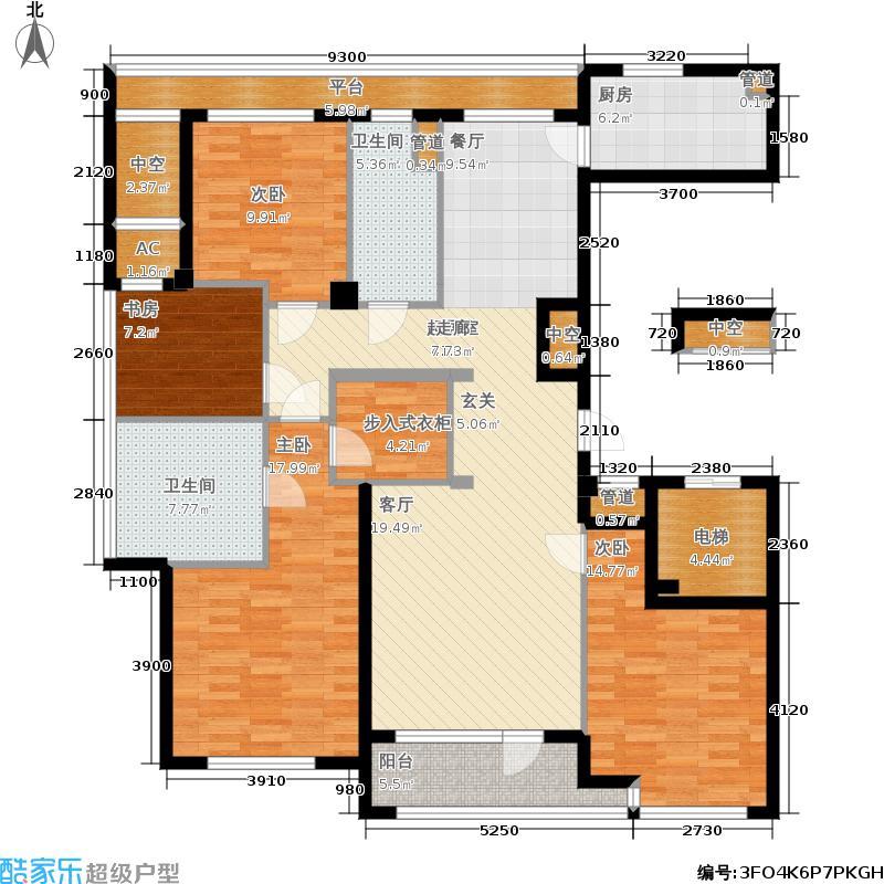 绿城百合花园165.00㎡D7号楼西户 四室两厅两卫户型2室2厅2卫