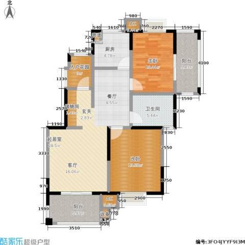 北江锦城2室0厅1卫1厨89.00㎡户型图