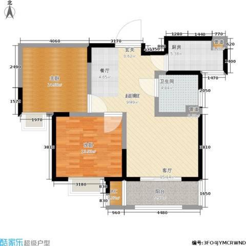 辰宇世纪城2室0厅1卫1厨88.00㎡户型图