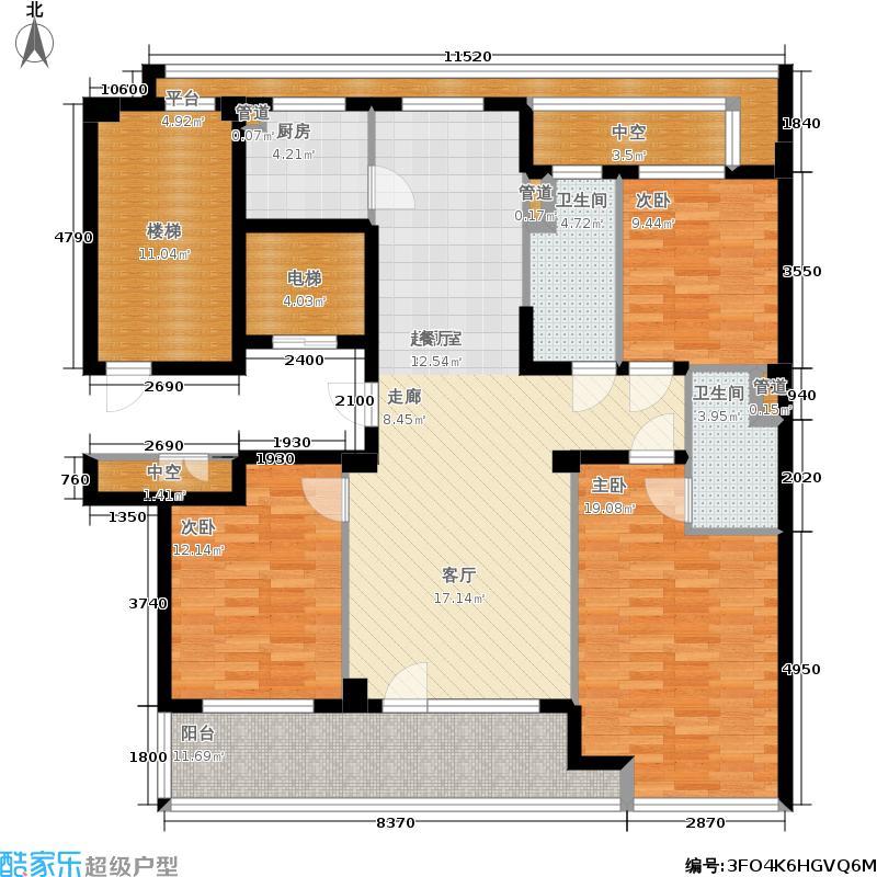 绿城百合花园140.00㎡D8号楼 三室两厅两卫户型3室2厅2卫