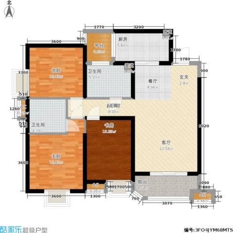 华城泊郡二期3室0厅2卫1厨122.00㎡户型图