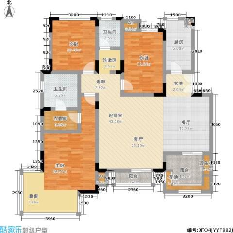 北江锦城3室0厅2卫1厨133.00㎡户型图