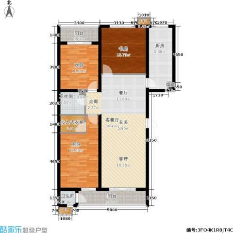 滨河雅园3室1厅2卫1厨151.00㎡户型图