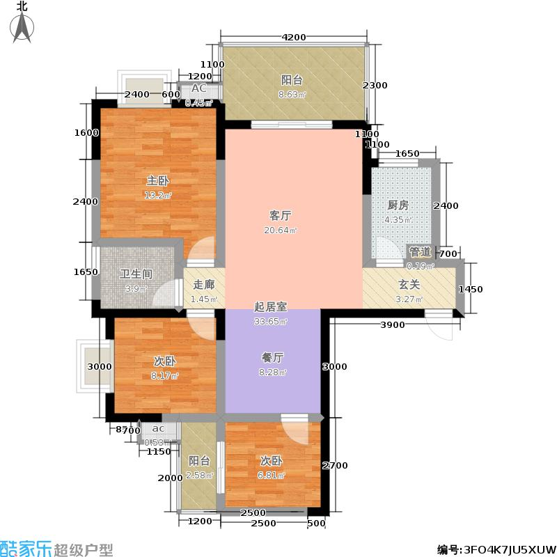都市江景109.00㎡三室两厅一卫户型