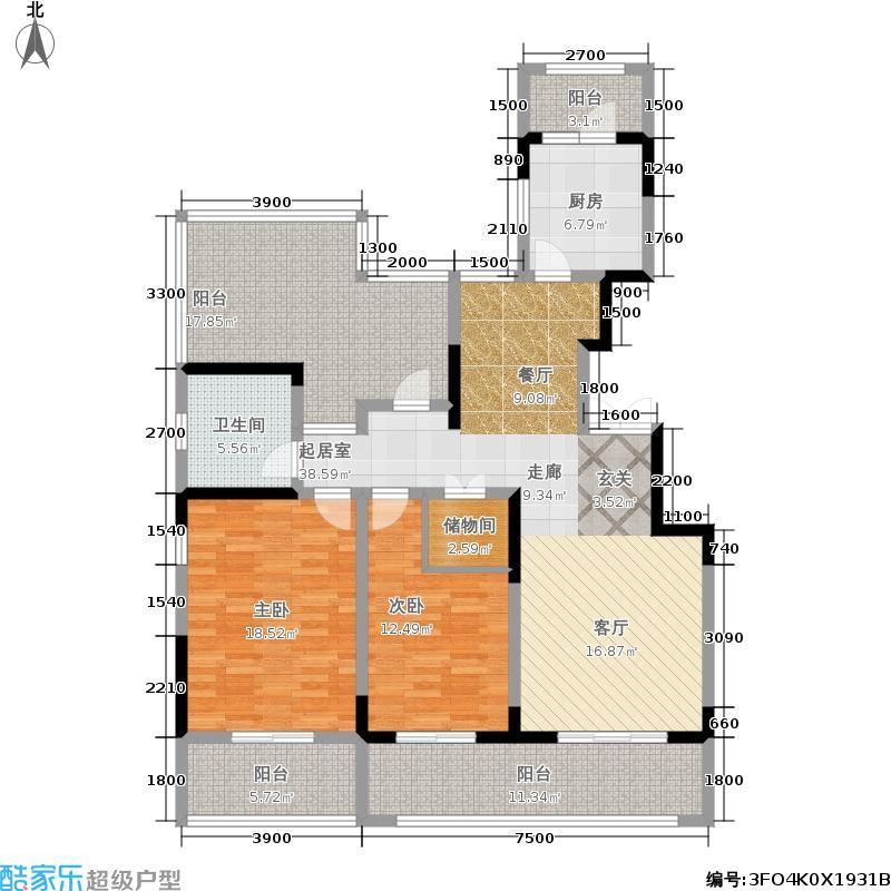 冠昌金域湾畔7#楼-洋房-F1-3-顶层户型