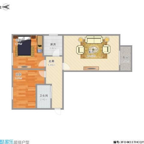 天坛西里东区2室1厅1卫1厨59.00㎡户型图