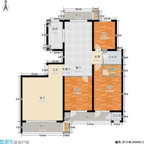 滨河雅园3室1厅2卫1厨215.00㎡户型图