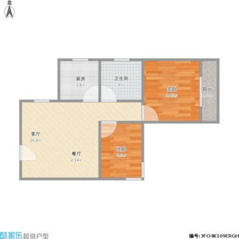 张杨南苑2室1厅1卫1厨56.00㎡户型图