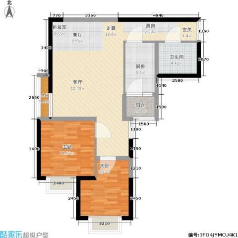 辰宇世纪城2室0厅1卫1厨78.00㎡户型图