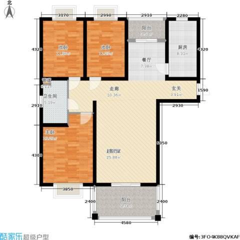开祥天下城3室0厅1卫1厨130.00㎡户型图