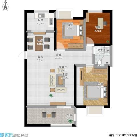 高力金色果缘3室1厅1卫1厨114.00㎡户型图