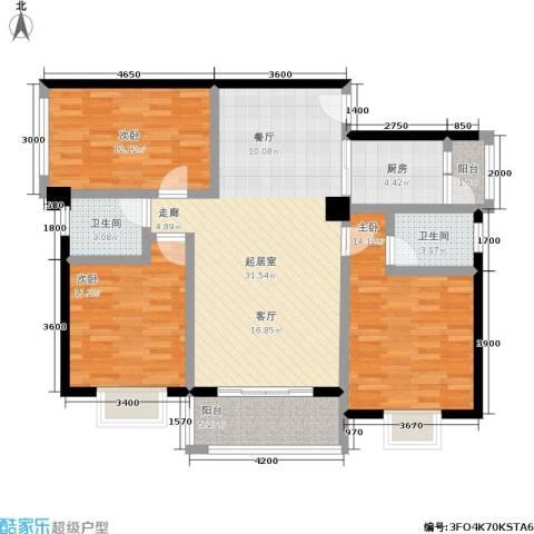 水岸新城3室0厅2卫1厨115.00㎡户型图