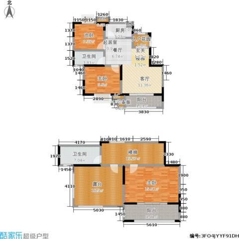 北江锦城3室0厅2卫1厨132.00㎡户型图