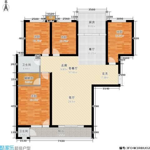 滨河雅园4室1厅2卫1厨194.00㎡户型图