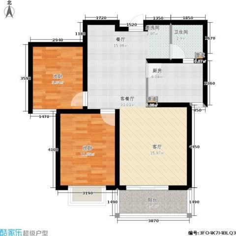 榕城世家2室1厅1卫1厨94.00㎡户型图