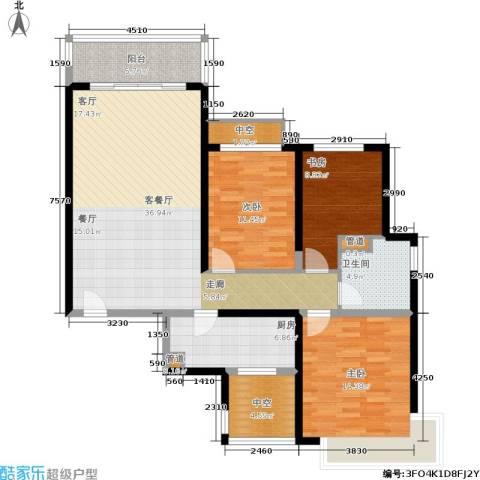 恒大金碧天下3室1厅1卫1厨111.00㎡户型图