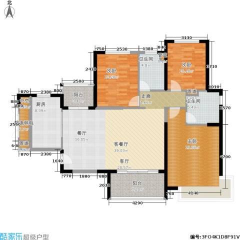 恒大金碧天下3室1厅2卫1厨128.00㎡户型图