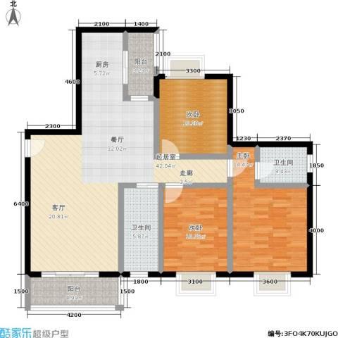 水岸新城3室0厅2卫0厨128.00㎡户型图