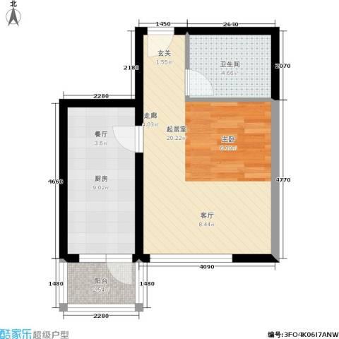 北京悦1卫1厨52.00㎡户型图