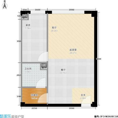 北京悦1卫1厨57.00㎡户型图