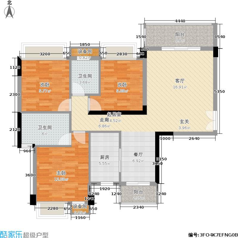 水墨林溪122.39㎡B1户型7号楼2-16层05号三房两厅两卫户型3室2厅2卫