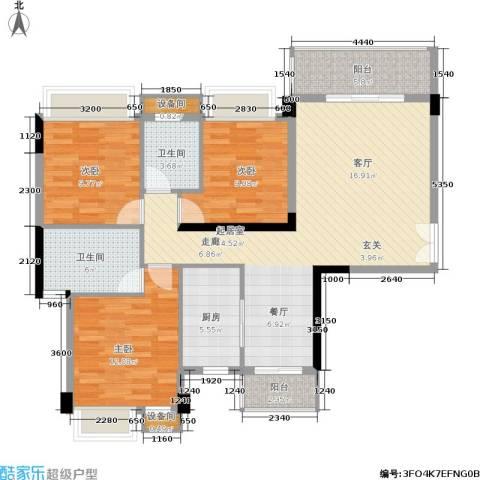 水墨林溪3室0厅2卫1厨102.23㎡户型图