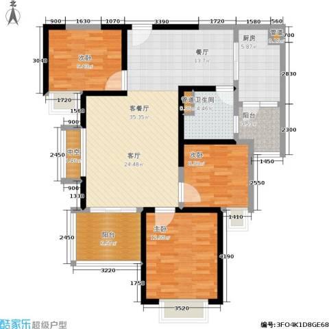 恒大金碧天下3室1厅1卫1厨104.00㎡户型图