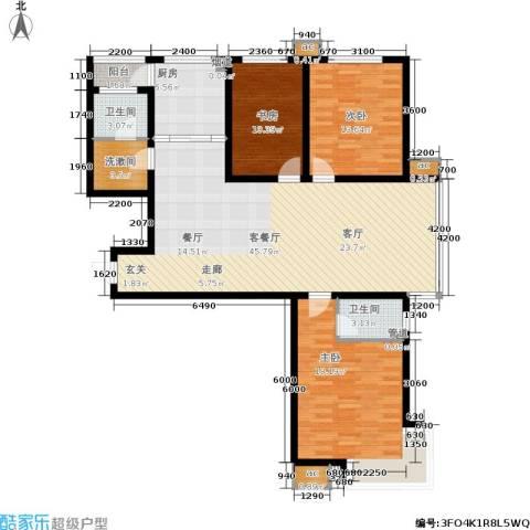 滨河雅园3室1厅2卫1厨154.00㎡户型图
