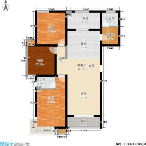 滨河雅园3室1厅2卫1厨156.00㎡户型图