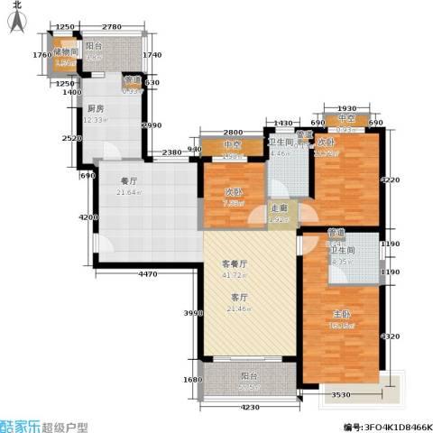 恒大金碧天下3室1厅2卫1厨126.00㎡户型图