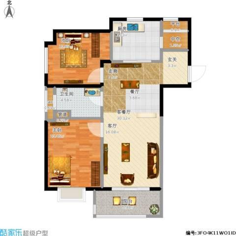 万科中环国际城海上传奇2室1厅1卫1厨106.00㎡户型图