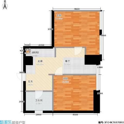 秀东尚座2室0厅1卫0厨66.00㎡户型图