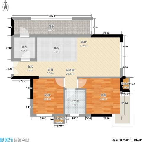 水墨林溪2室0厅1卫1厨71.28㎡户型图