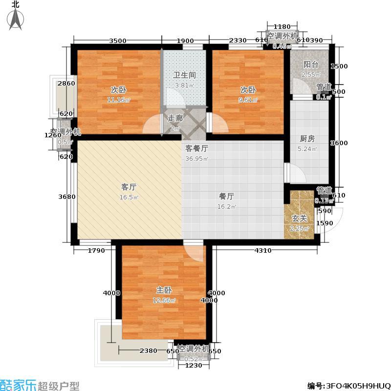 富力新城110.00㎡一期高层3居户型