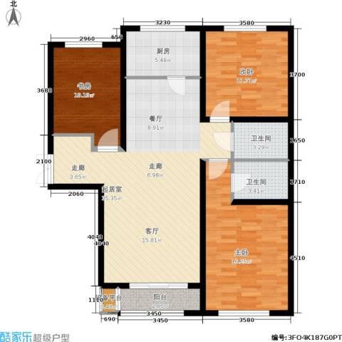 华北星城3室0厅2卫1厨126.00㎡户型图