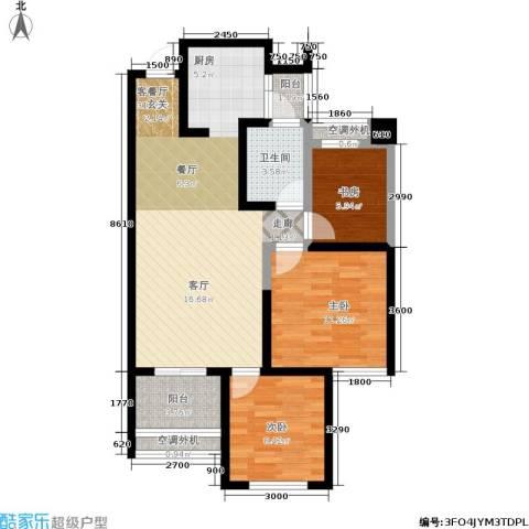 世园大公馆3室1厅1卫0厨92.00㎡户型图