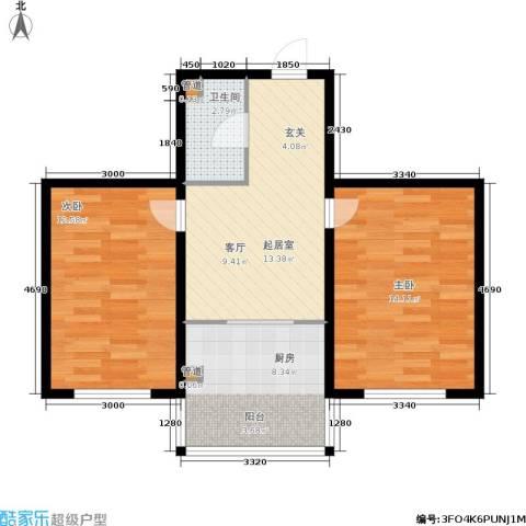 山水龙城2室0厅1卫1厨72.00㎡户型图