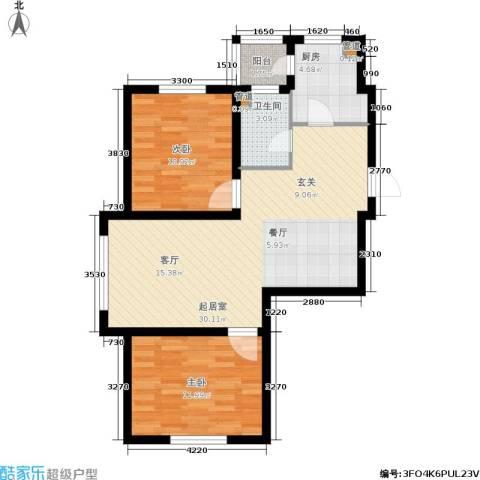 山水龙城2室0厅1卫1厨85.00㎡户型图
