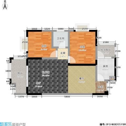 树高卡地亚2室0厅1卫1厨94.00㎡户型图