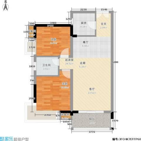 水墨林溪2室0厅1卫1厨69.60㎡户型图