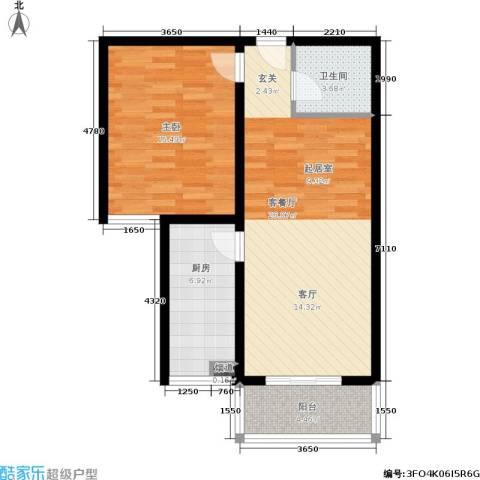 北京悦1室1厅1卫1厨75.00㎡户型图