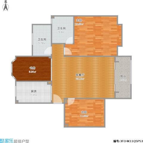 招商海德名门3室1厅2卫1厨128.00㎡户型图
