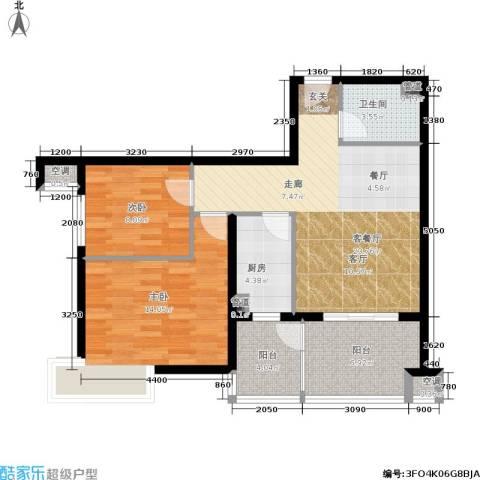 涧桥山2室1厅1卫1厨86.00㎡户型图