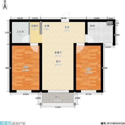 北京悦2室1厅1卫1厨80.00㎡户型图