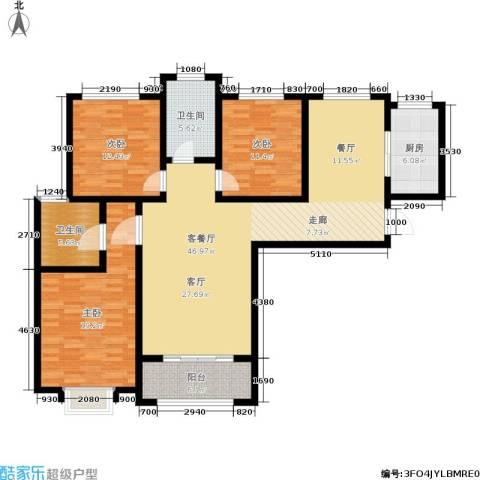 紫境城3室1厅2卫1厨130.00㎡户型图