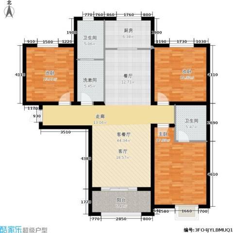 紫境城3室1厅2卫1厨133.00㎡户型图