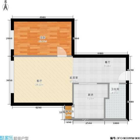 朗琴园1室0厅1卫1厨59.00㎡户型图